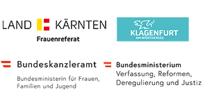 Logo Land Kärnten Frauenreferat, Logo Bundeskanzleramt - Bundesministerium für Frauen, Familien und Jugend. Logo Stadt Klagenfurt am Wörthersee. Logo Bundesministerium Verfassung, Reformen, Deregulierung und Justiz.